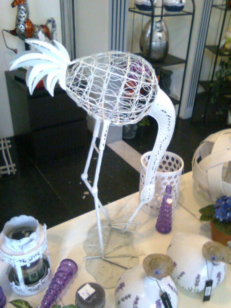 Cigogne en métal  blanc